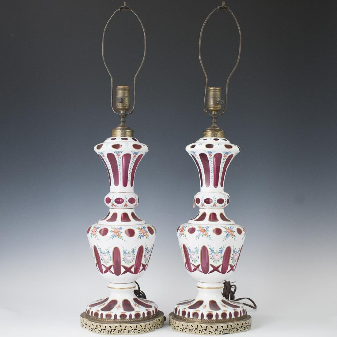 Bohemian Cut to Clear Ruby Glass Lamps