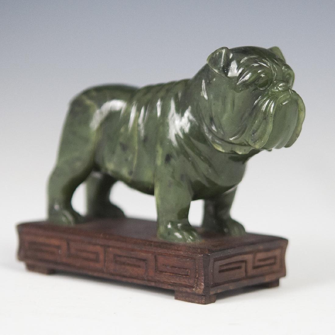Chinese Carved Spinach Jade English Bulldog