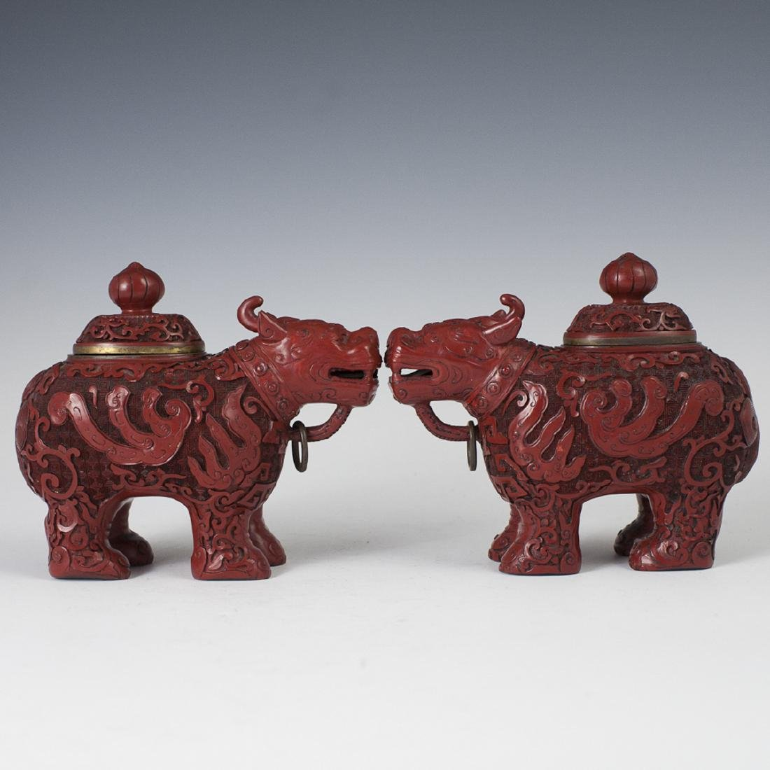 Antique Chinese Cinnabar Qilin Censers
