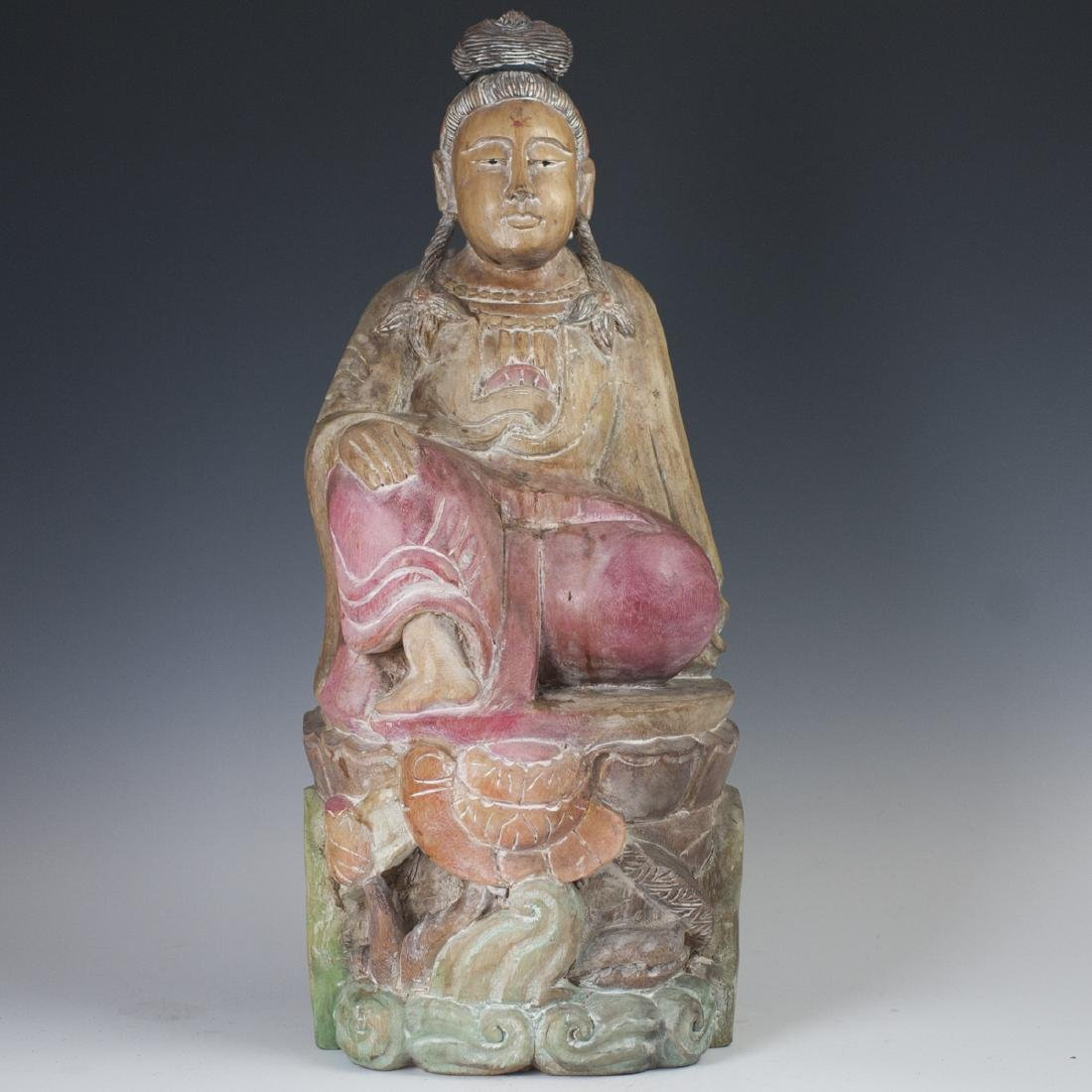 Carved Chinese Polychromed Wood Guanyin