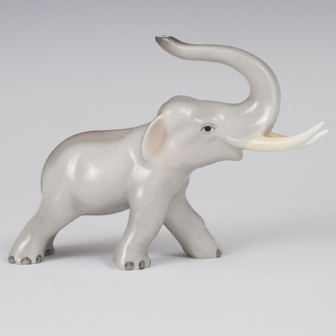 Herend Porcelain Naturalistic Elephant Figurine