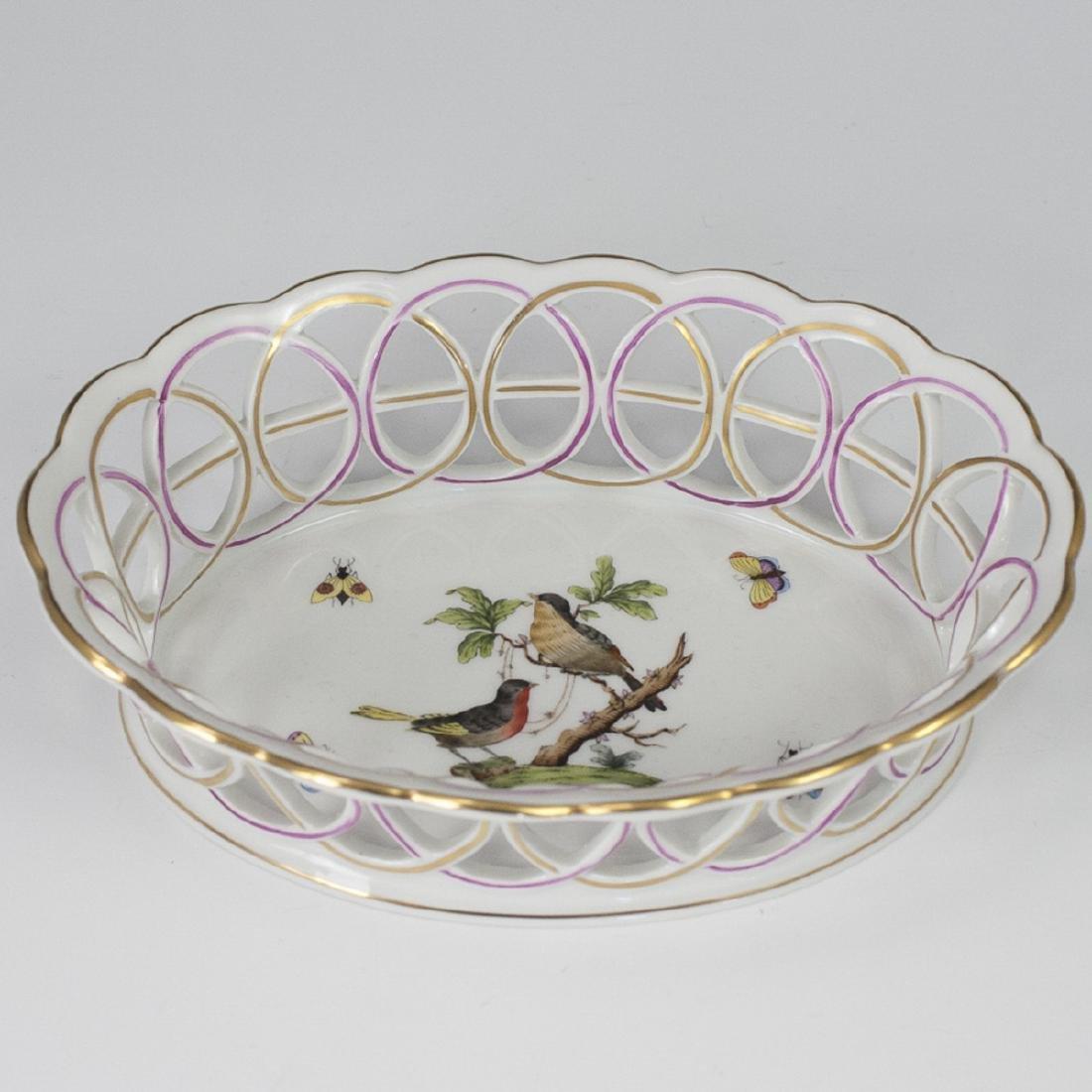 """Herend Porcelain """"Rothschild"""" Weave Basket"""