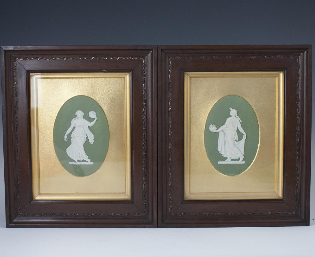 Antique Wedgwood Green Jasperware Plaques