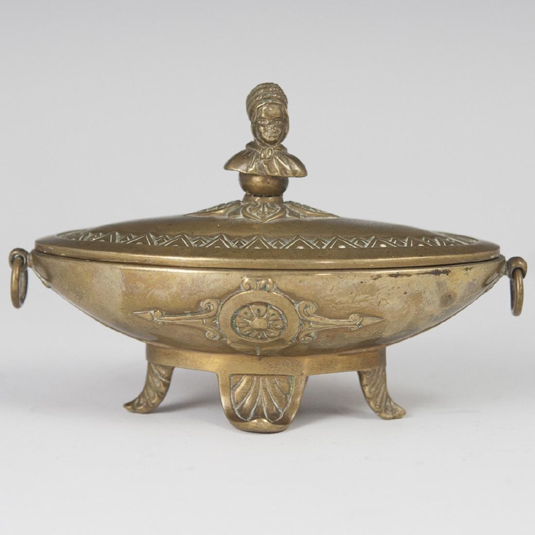 Antique Figural Dore Bronze Inkwell