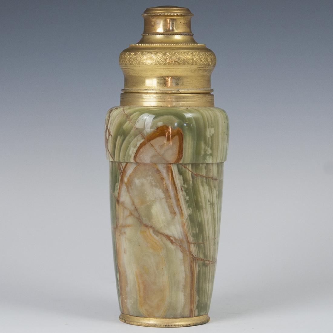 Vintage Gilded & Onyx Cocktail Shaker