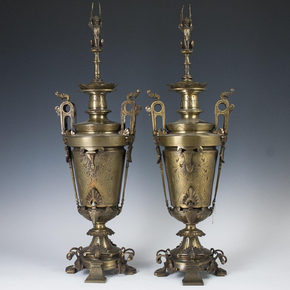 Antique French Bronze Gothic Revival Urns