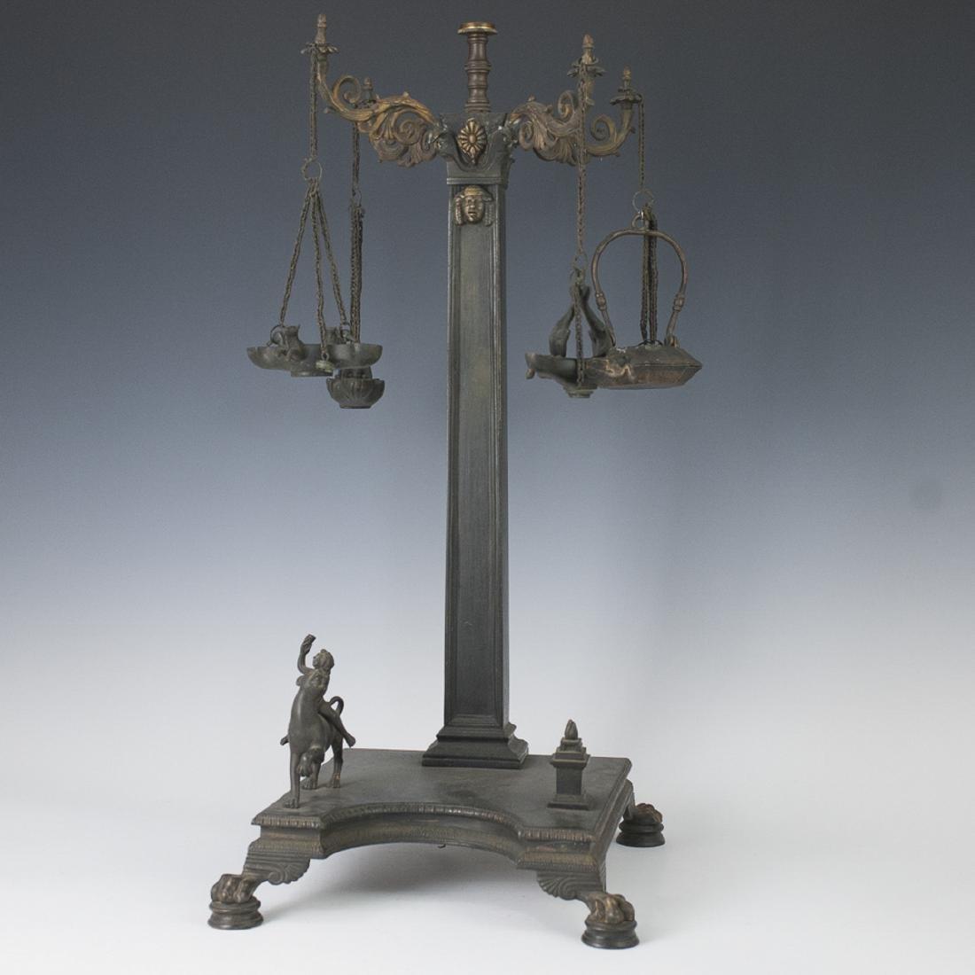 Antique Neoclassical Bronze Roman Oil Lamp