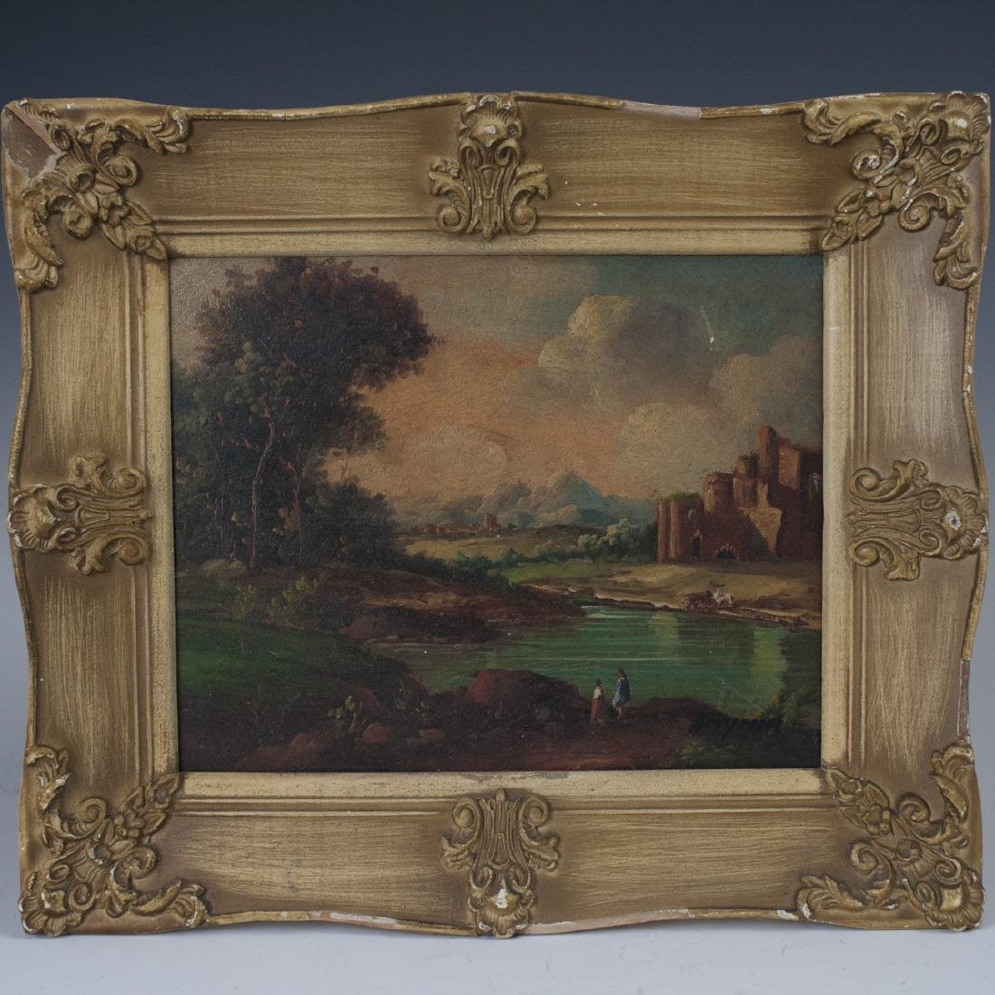 "Antique Oil on Masonite Signed:""Amynor"""