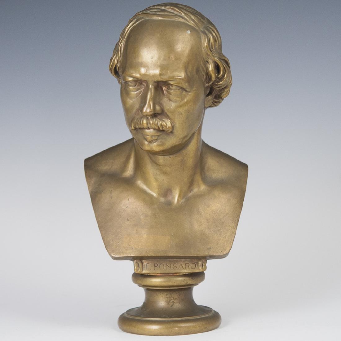 Ferdinand Barbedienne Dore Bronze Francois Ponsard Bust