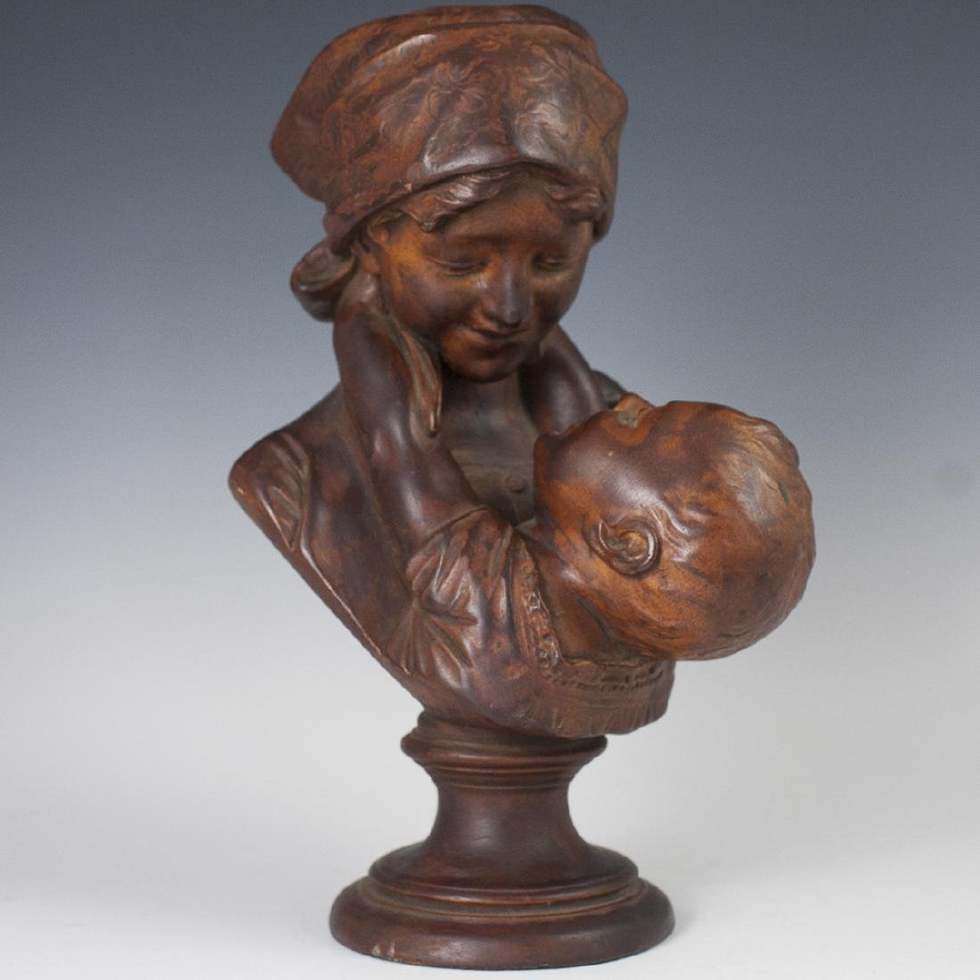 Antique Carved Wooden Bust
