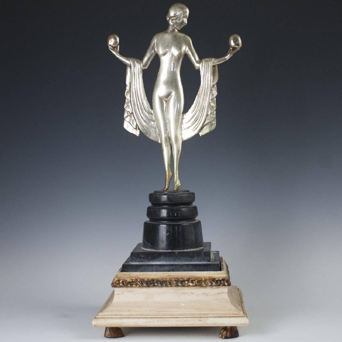 Art Deco Silvered Bronze Sculpture