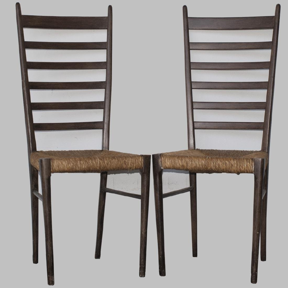 Probably Gio Ponti Woven Wicker Wooden Chairs