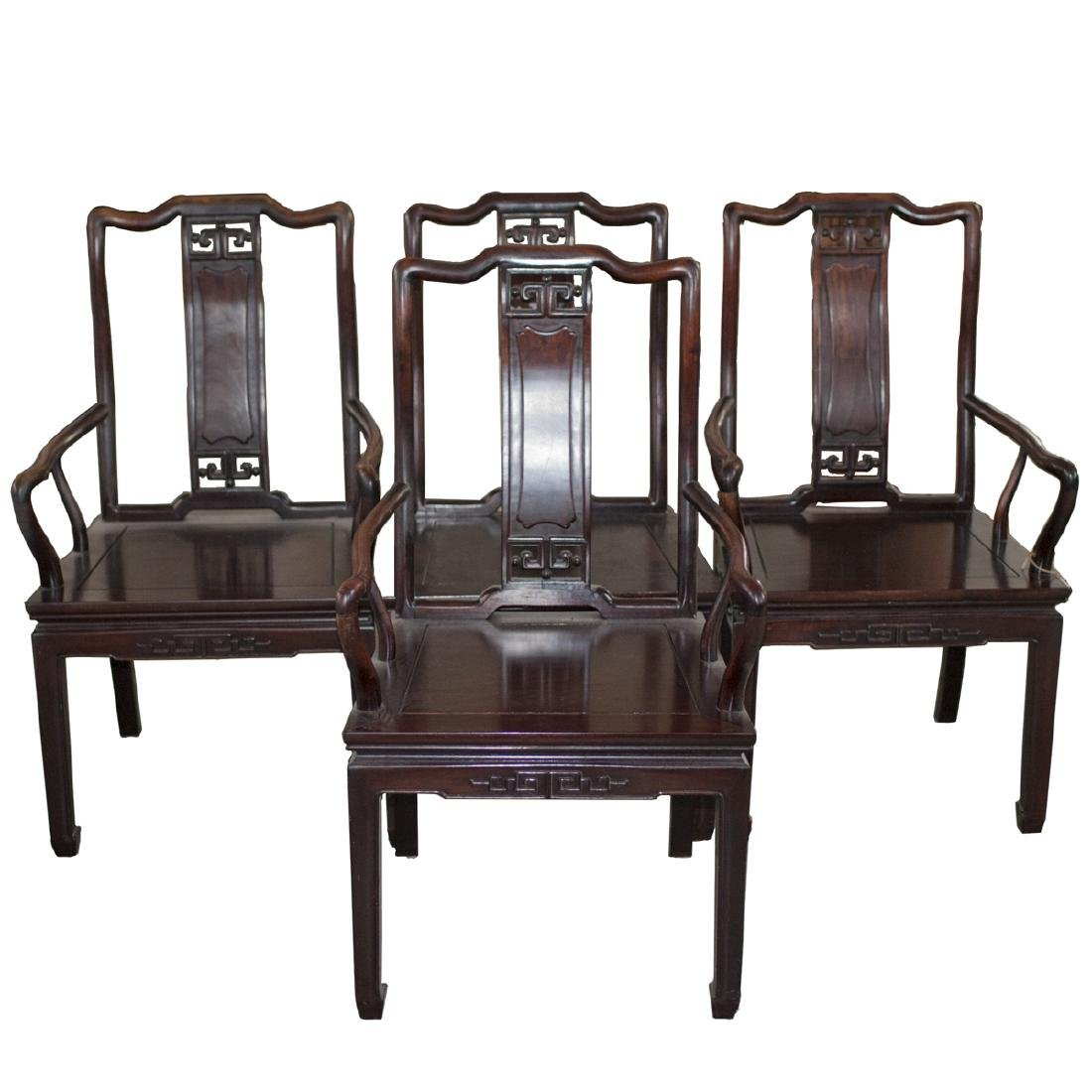 Carved Chinese Wooden Arm Chairs