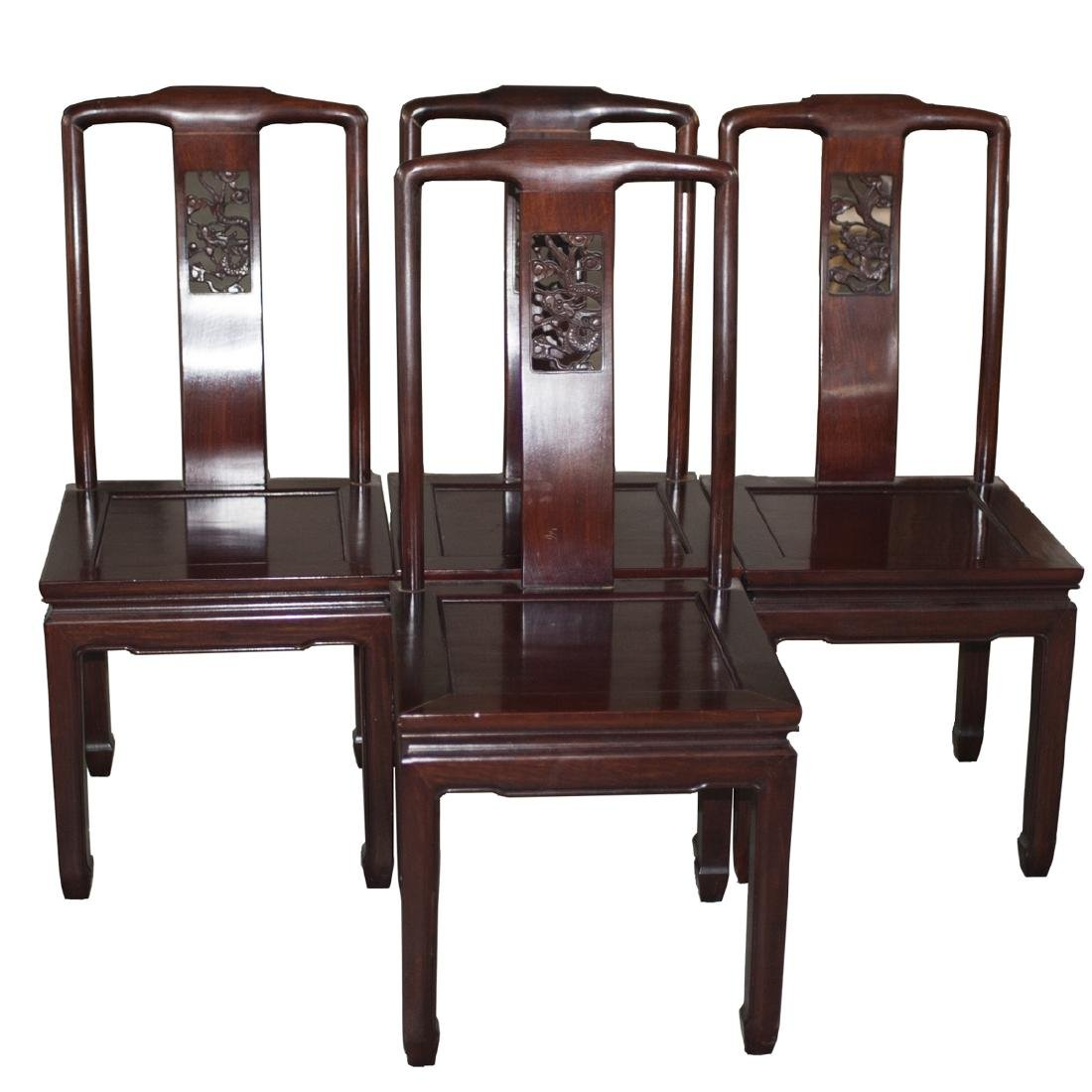 Carved Chinese Wooden Dining Chairs