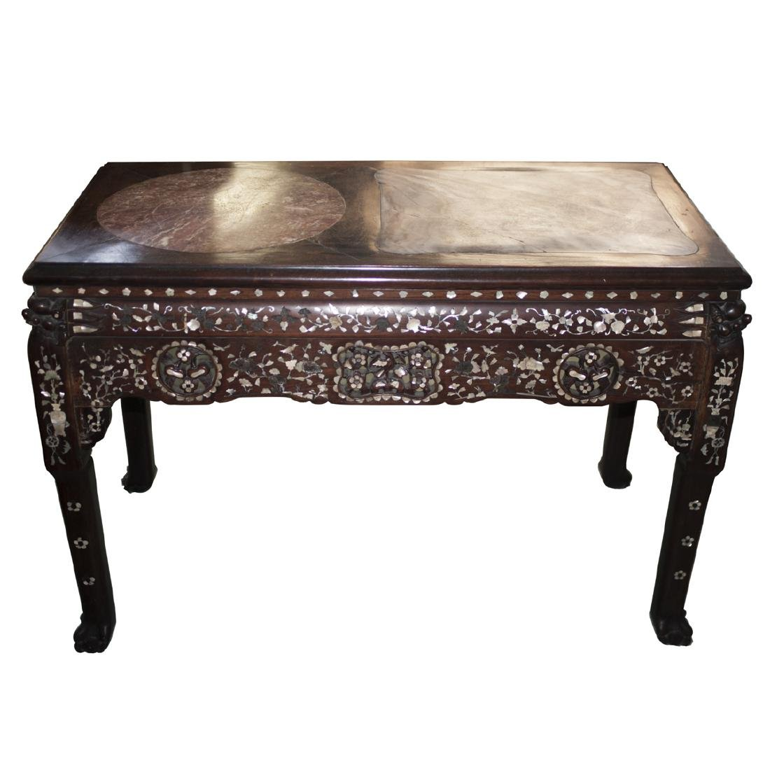 Chinese Rosewood Inlaid Mother of Pearl Console Table