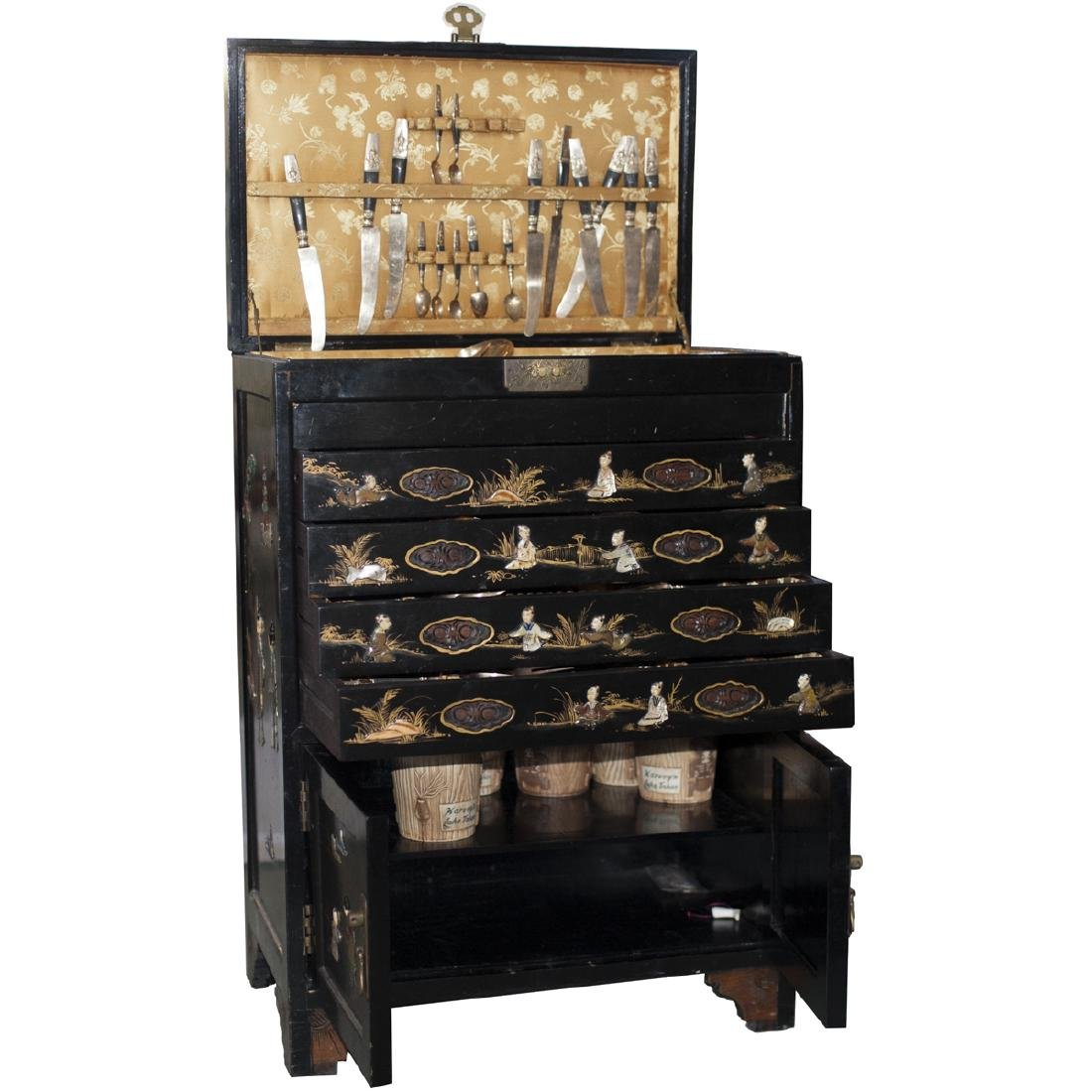Carved Chinese Lacquered Commode