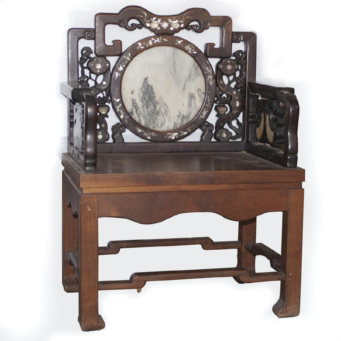 Carved Chinese Wooden Inlaid Armchair