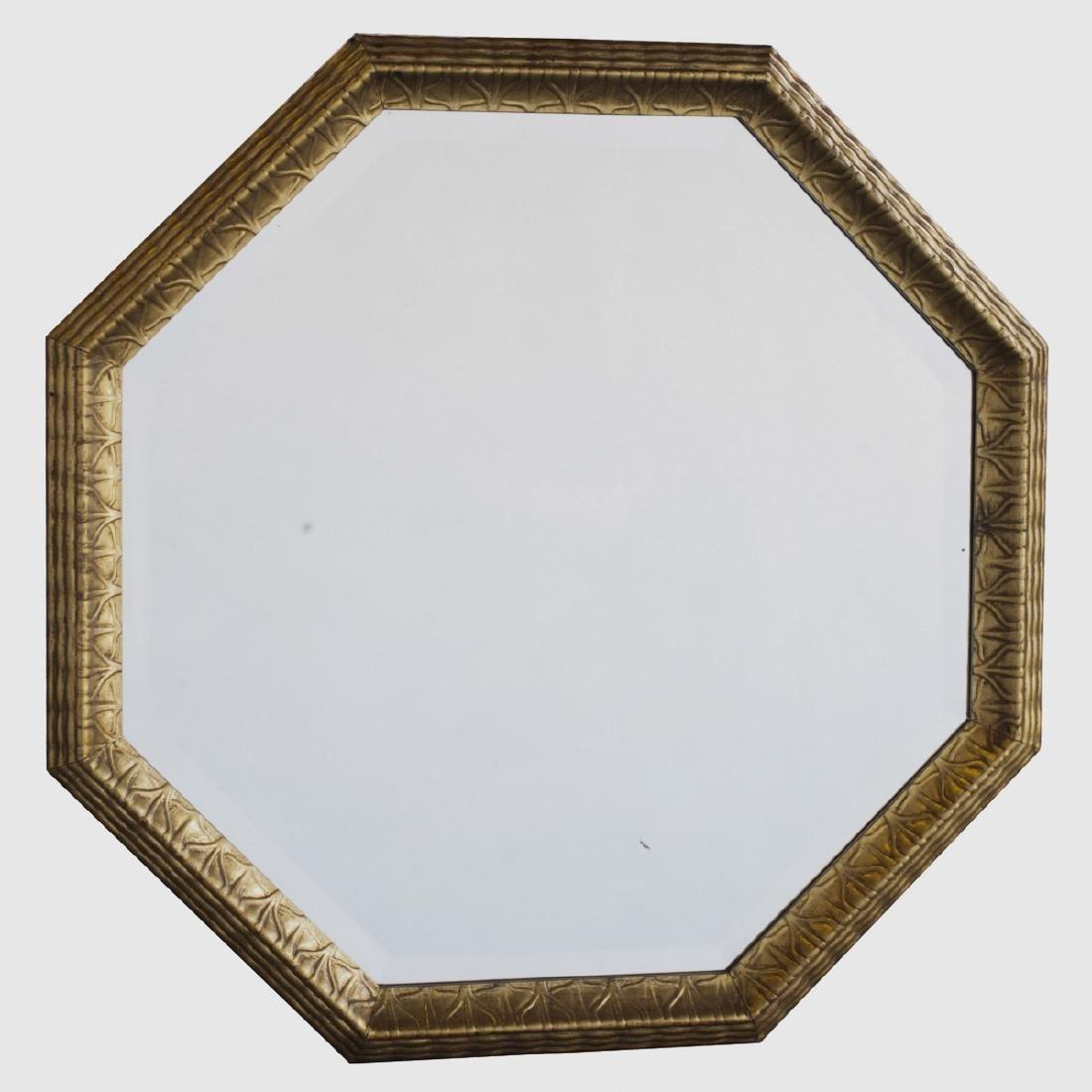 Antique Jugendstil Gilt Wooden Octogonal Mirror