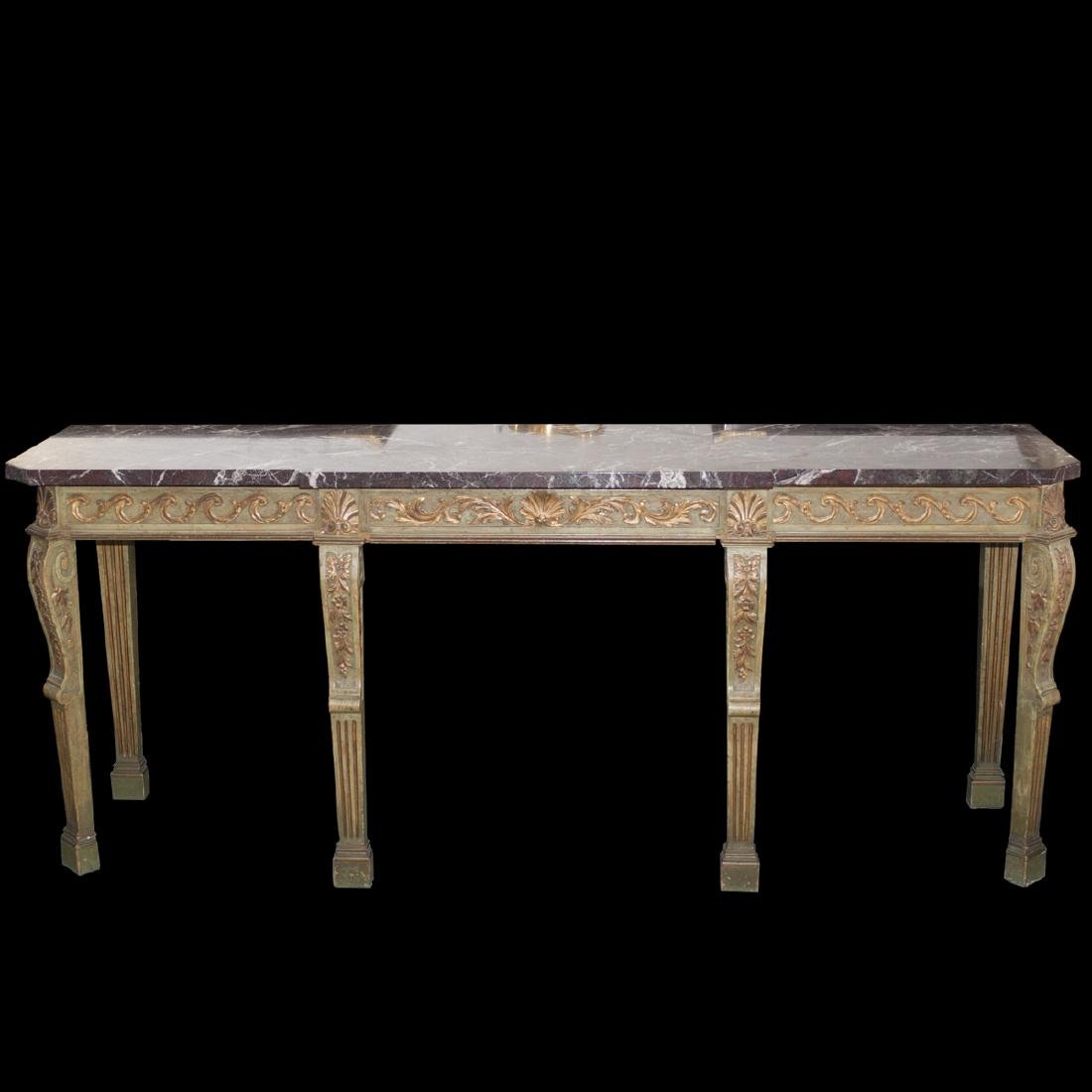 Italian Wooden Marble Top Console Table