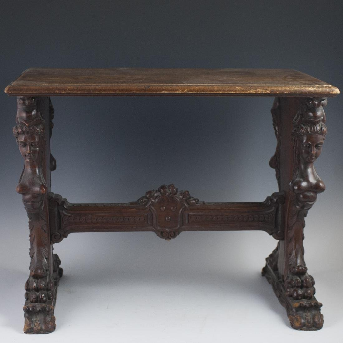 French Renaissance Revival Wooden Side Table