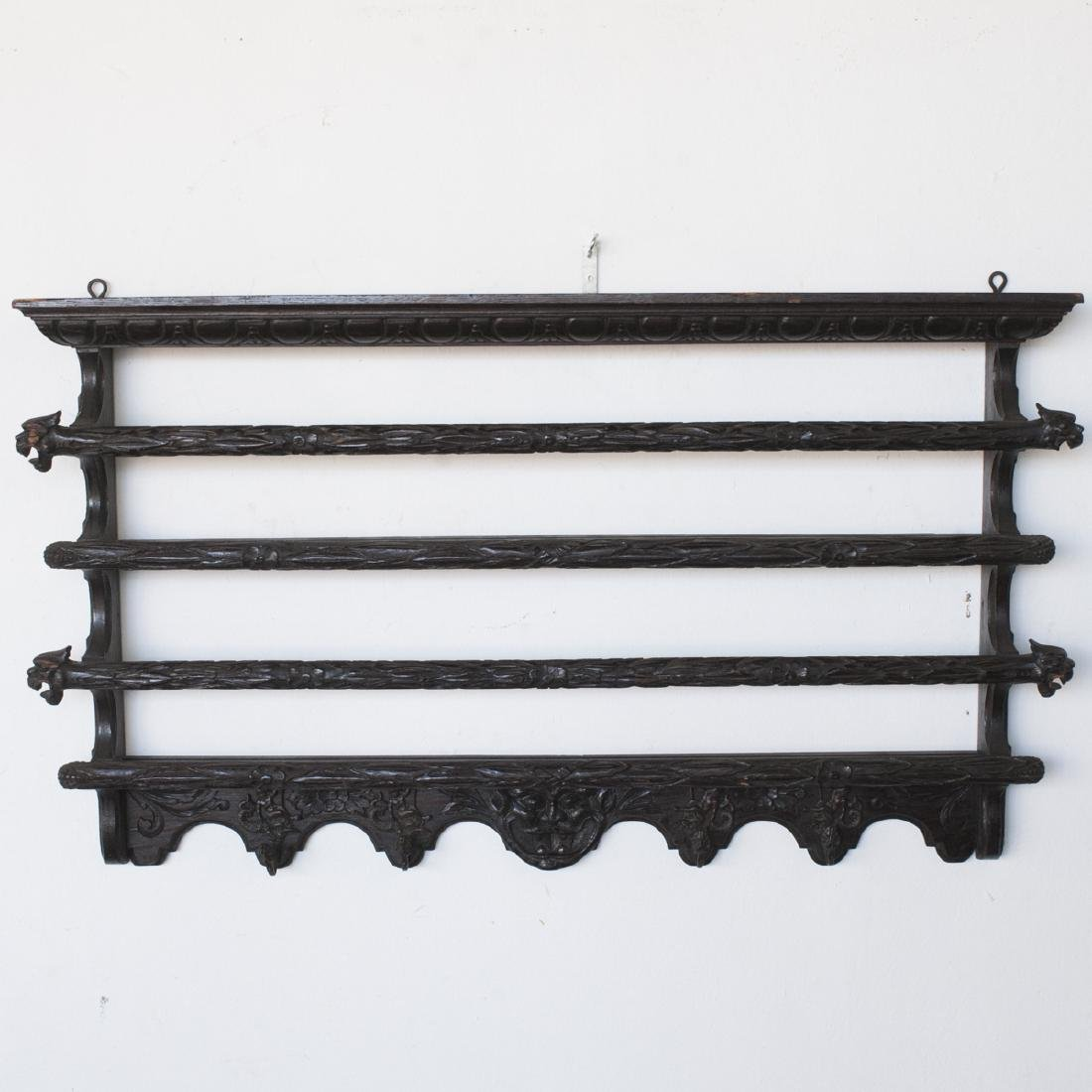 Antique English Carved Wooden Coat Rack