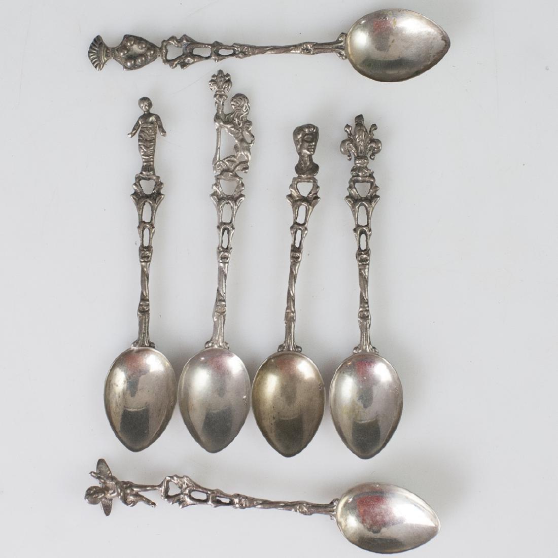 Antique Figural .800 Silver Demitasse Spoons