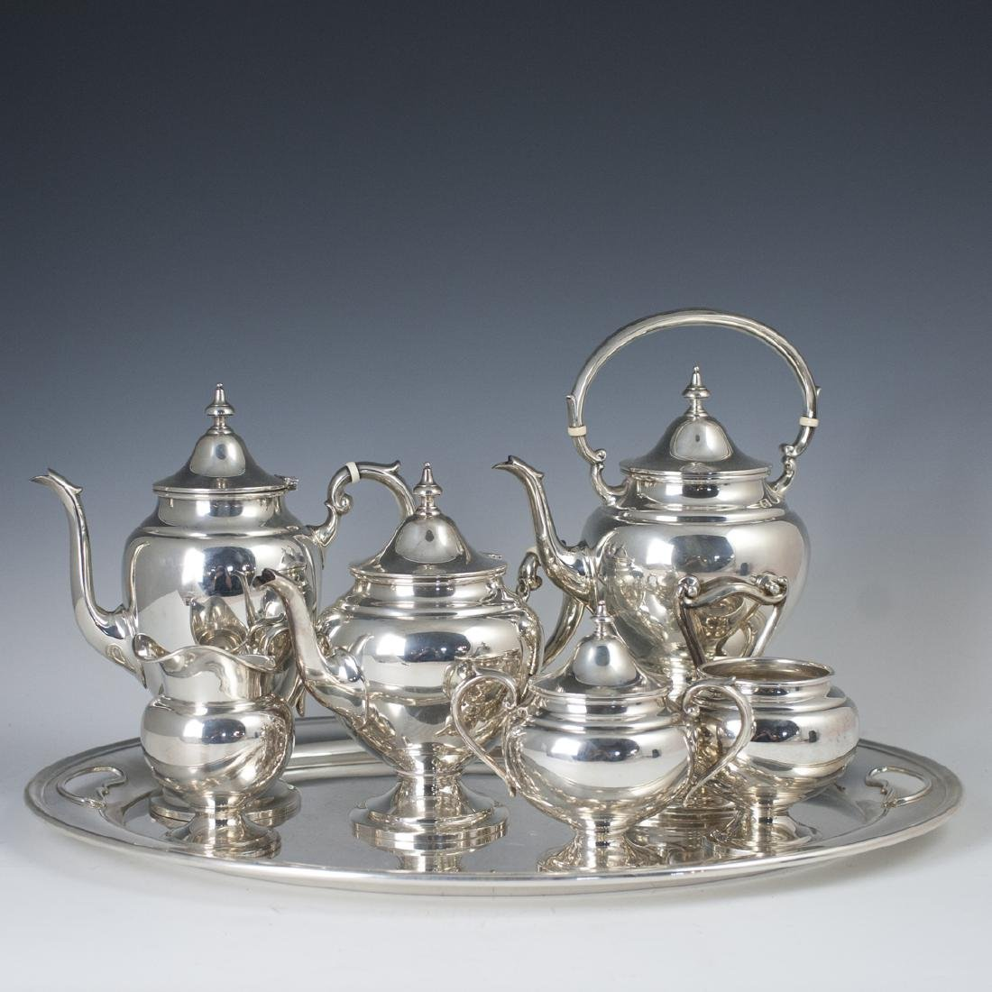 "Gorham Sterling ""Puritan Chased"" Tea Set"