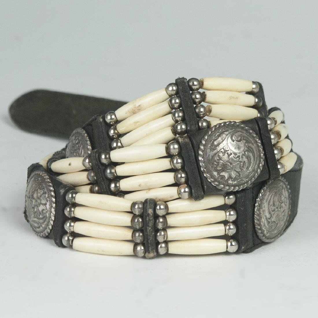 Navajo Style Silver Bone & Leather Belt