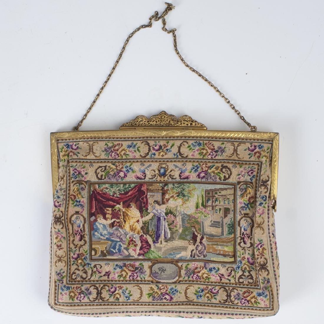 Antique Petit Point Tapestry Purse