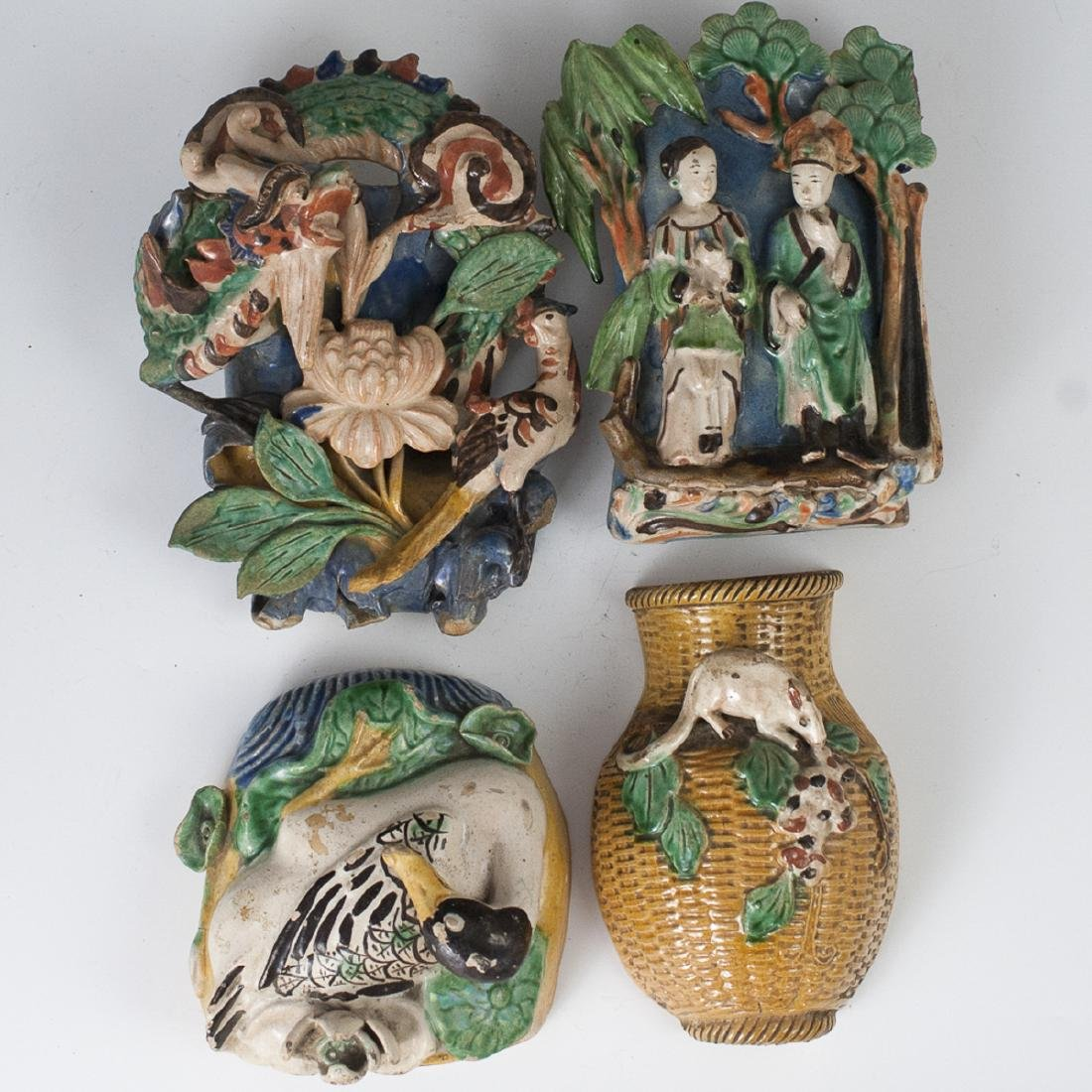 Chinese Wucai Glazed Pottery Pocket Vases