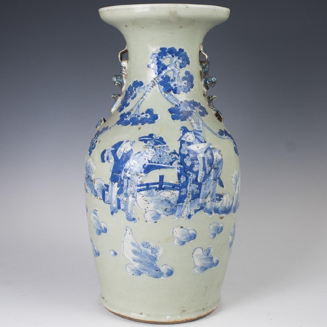 Antique Chinese Celadon Porcelain Baluster Vase