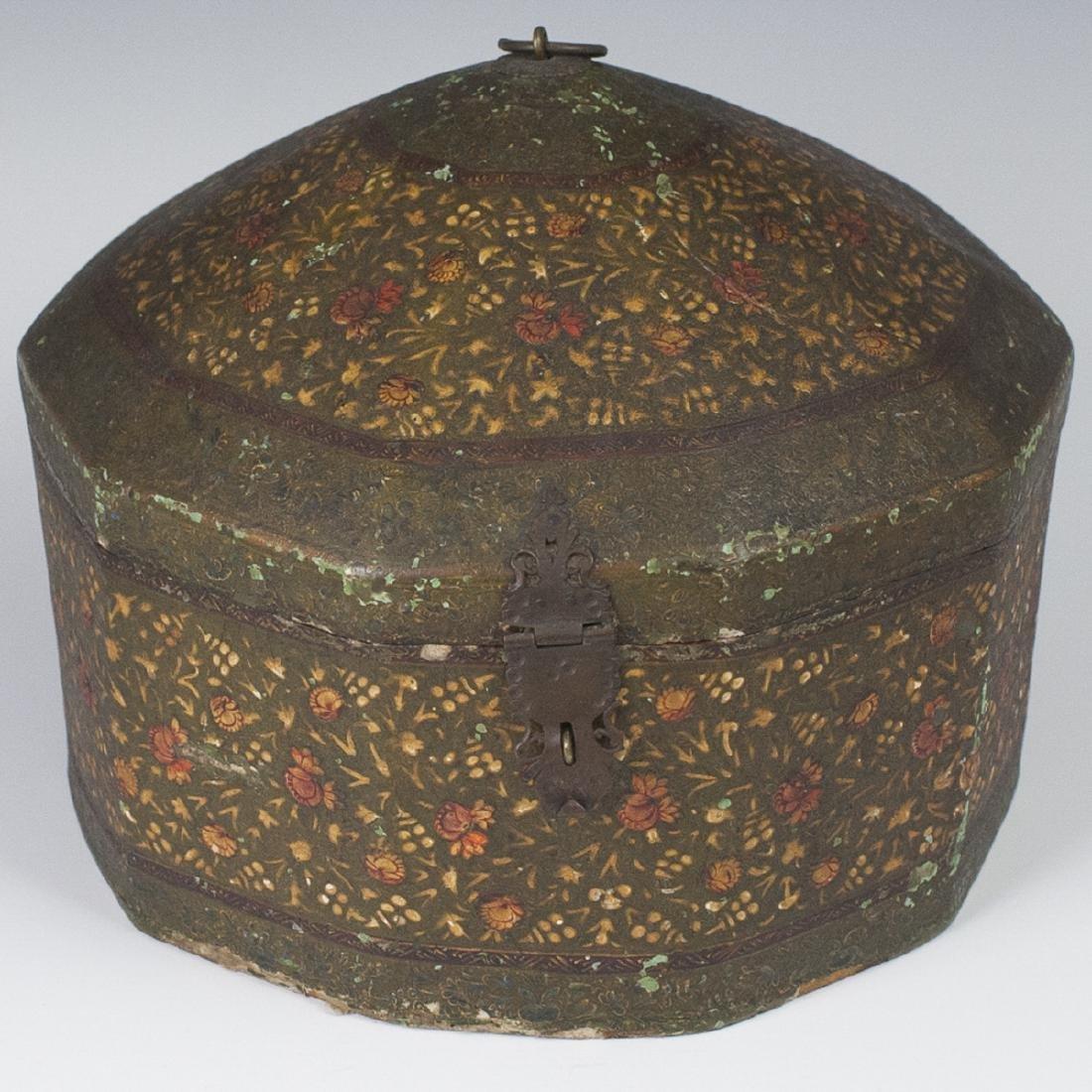 Persian Lacquered Papier Mache Turban Box