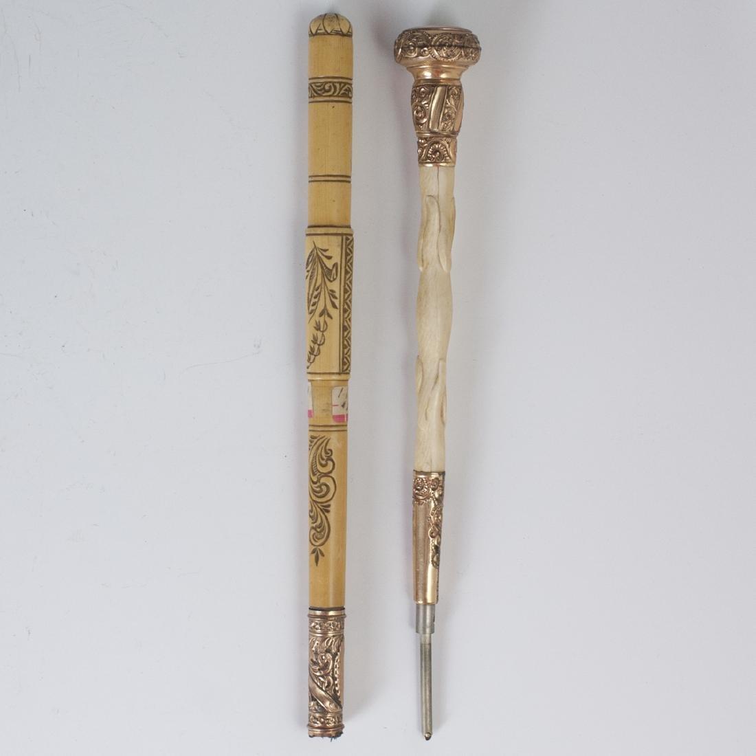 Carved Bone Walking Stick Handles