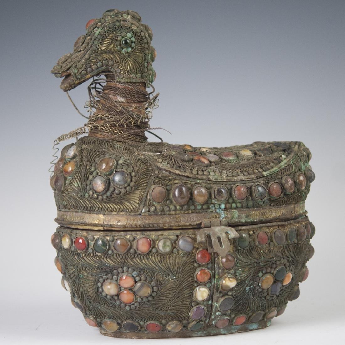 Oriental Filigree Semi-Precious Stone Box