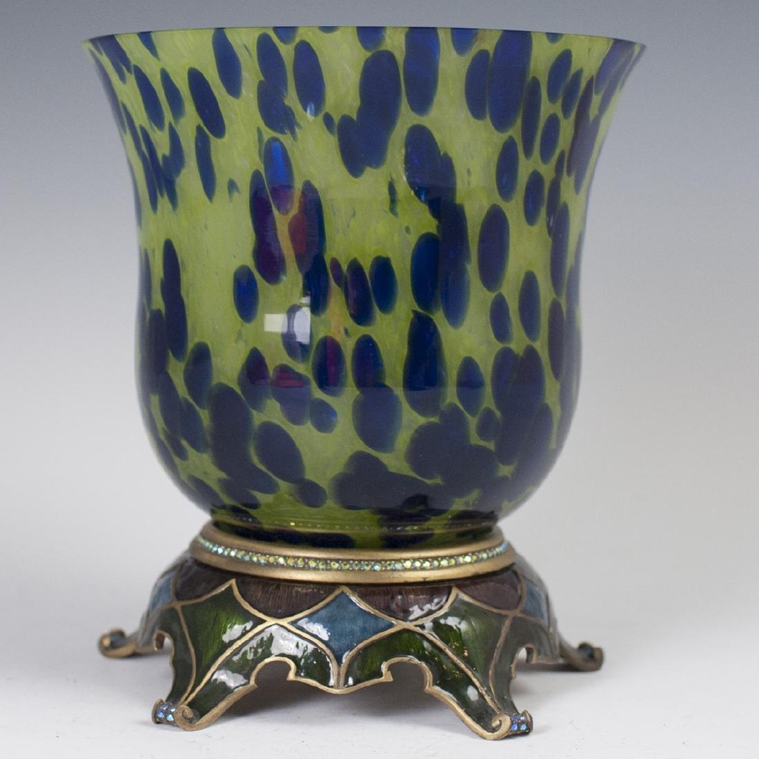 Jay Strongwater Enamel & Glass Vase