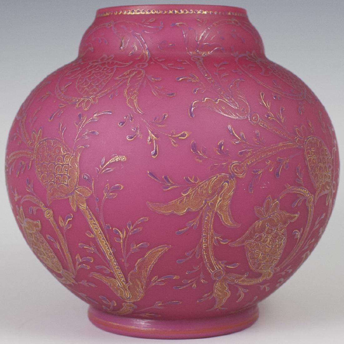 Antique Mt. Washington Raspberry Glass Vase