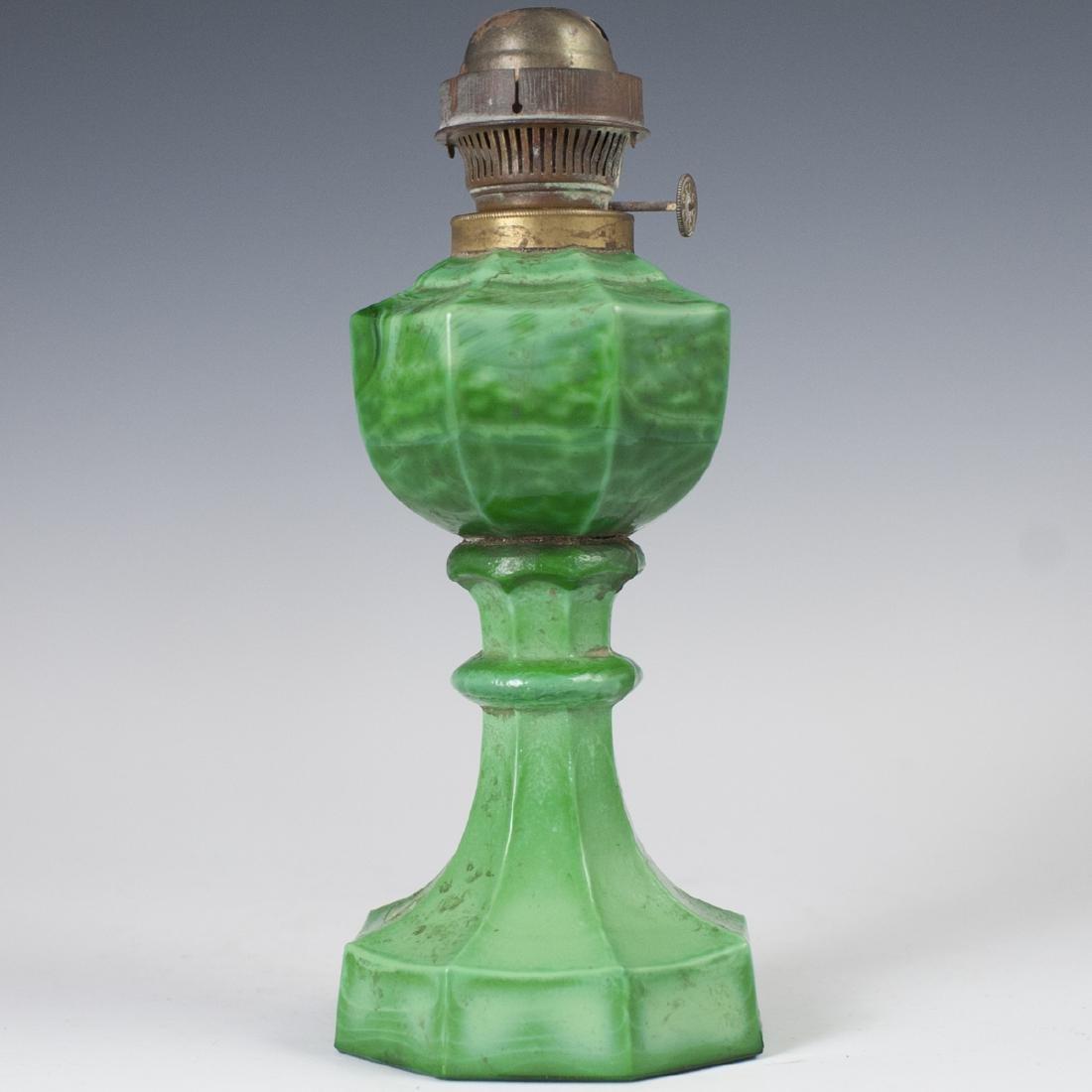 Antique Malachite Glass Oil Lamp