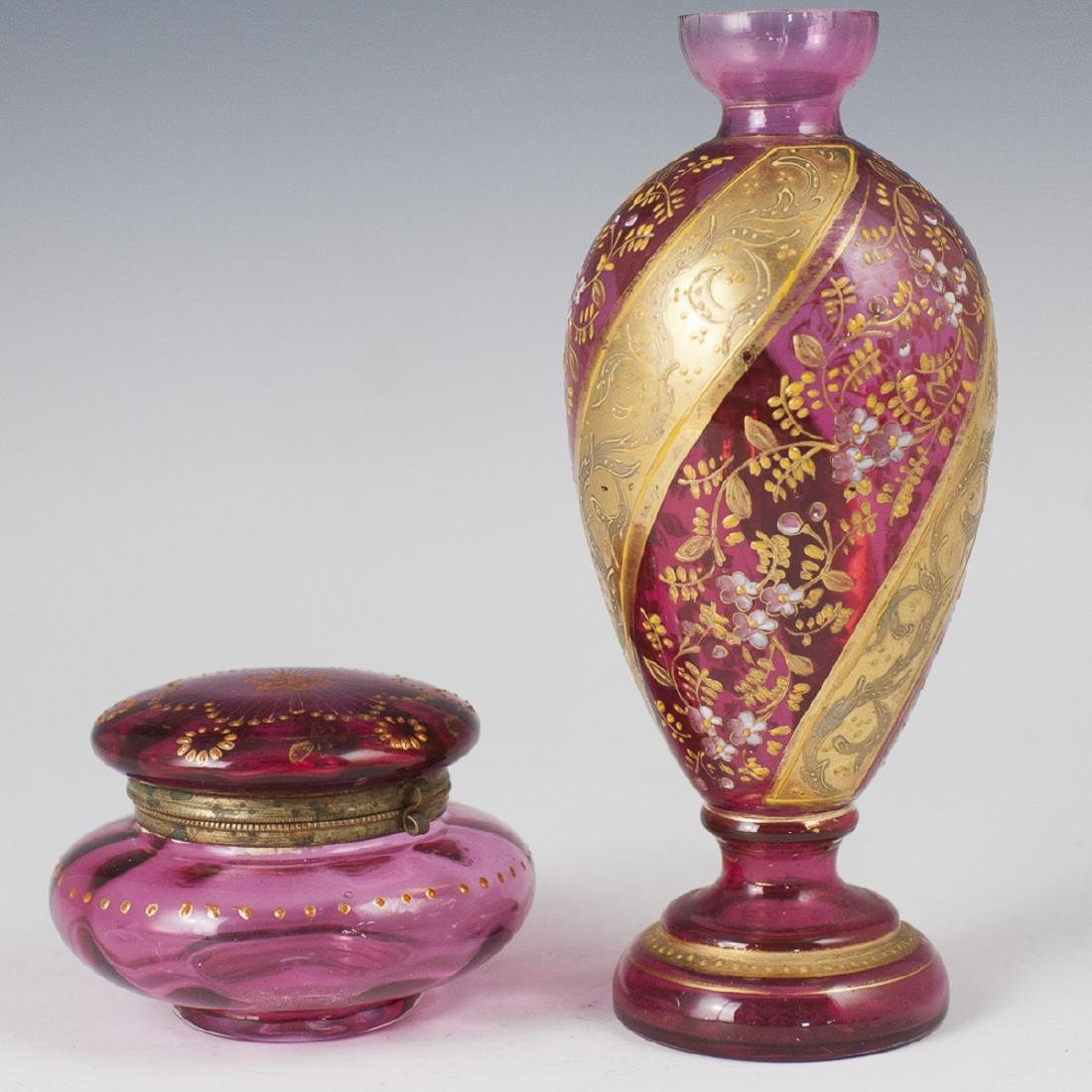 Moser Enameled Cranberry Glass