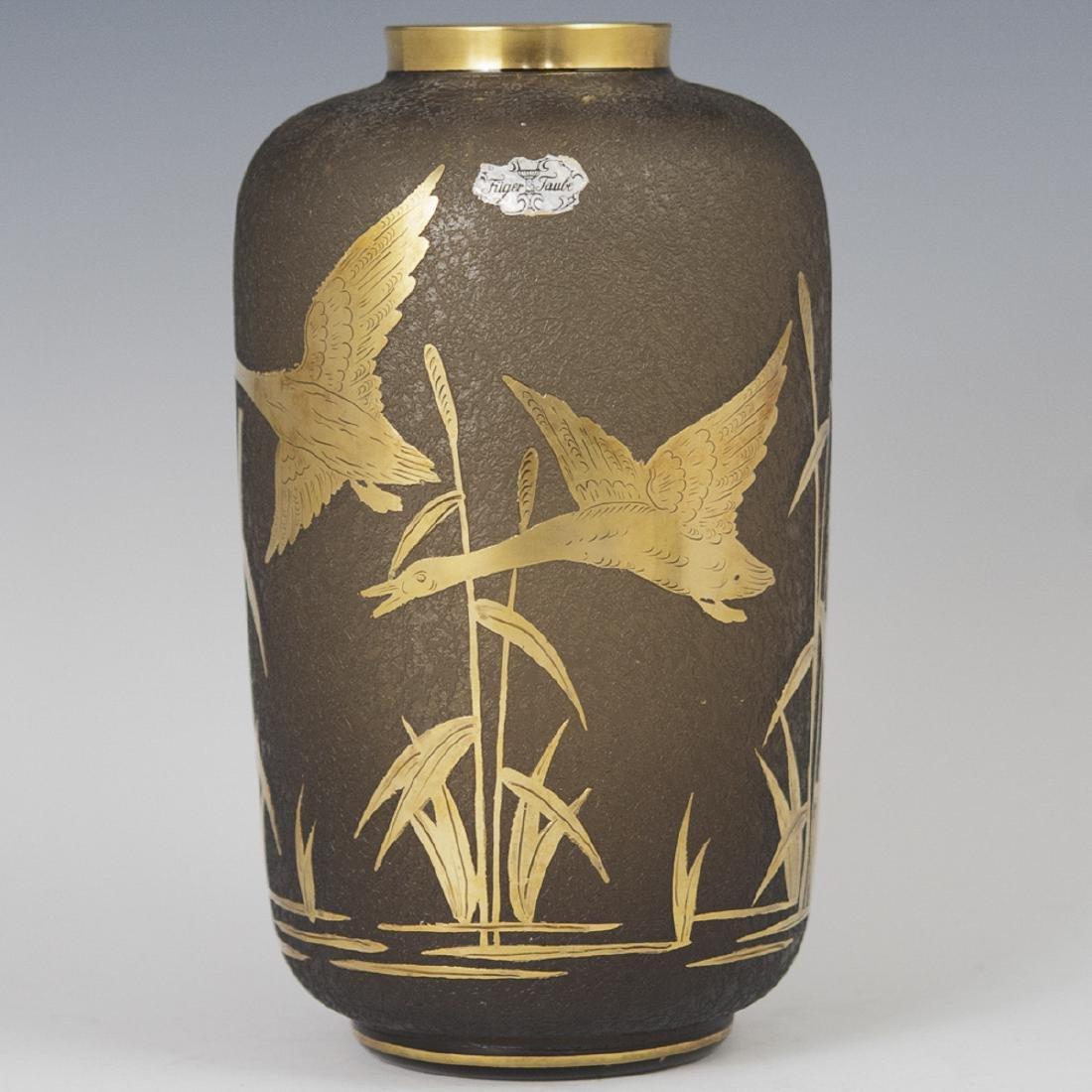 Fuger Taube Etched Glass Vase