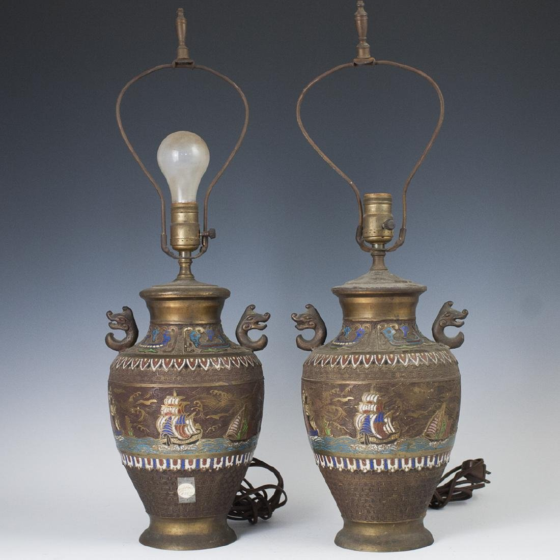 Chinese Bronze Cloisonne Enameled Lamps