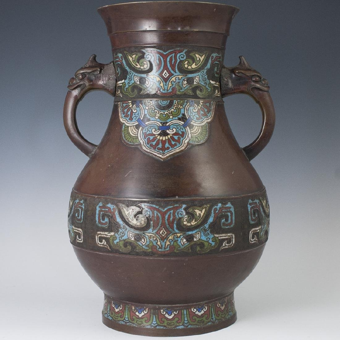 Large Chinese Cloisonne Enameled Bronze Vase