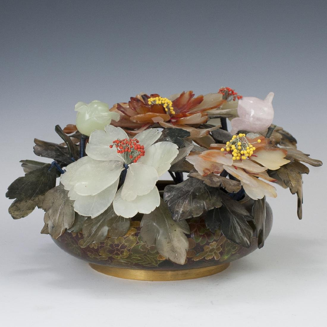Chinese Cloisonne Enameled Semi-Precious Stone Tree
