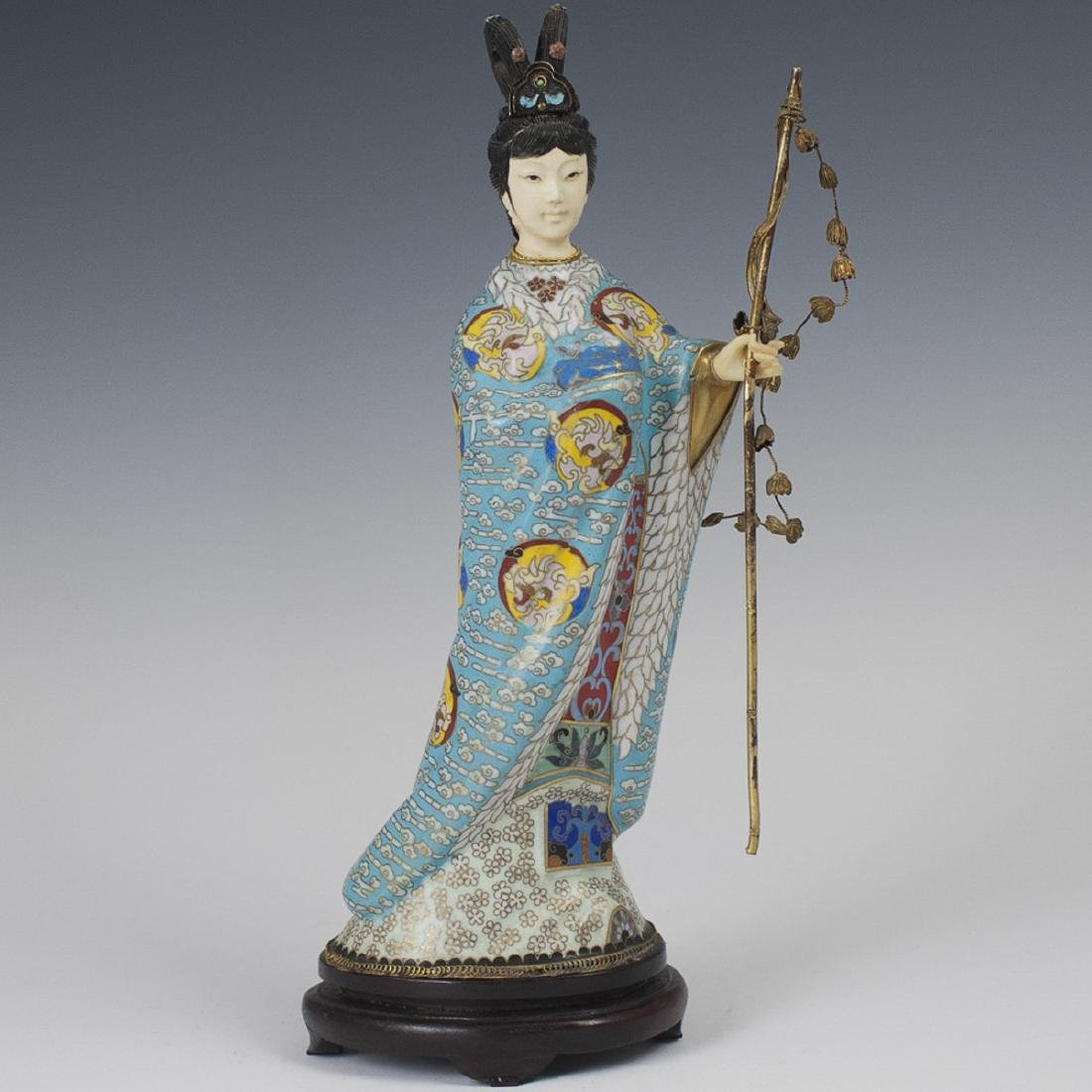 Chinese Cloisonne Enameled Guanyin