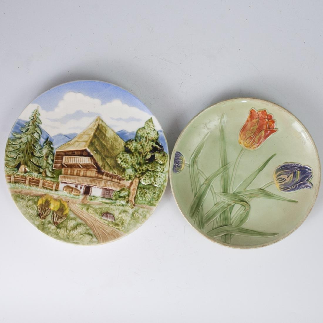 German Porcelain Majolica Plates