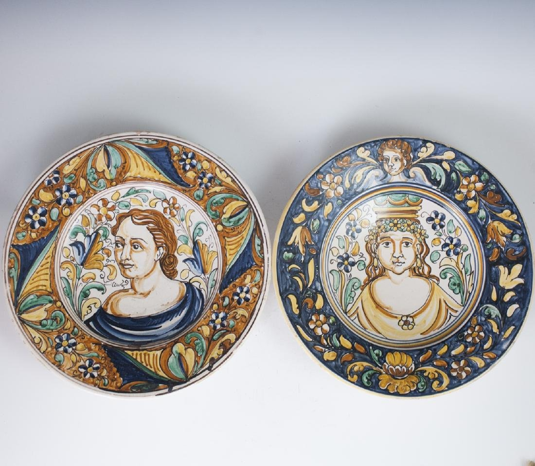 Antique Italian Majolica Charger Bowls