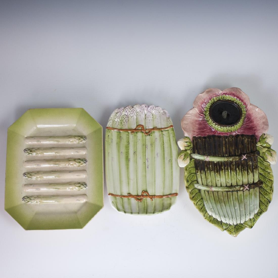 Vintage Majolica Glazed Asparagus Trays