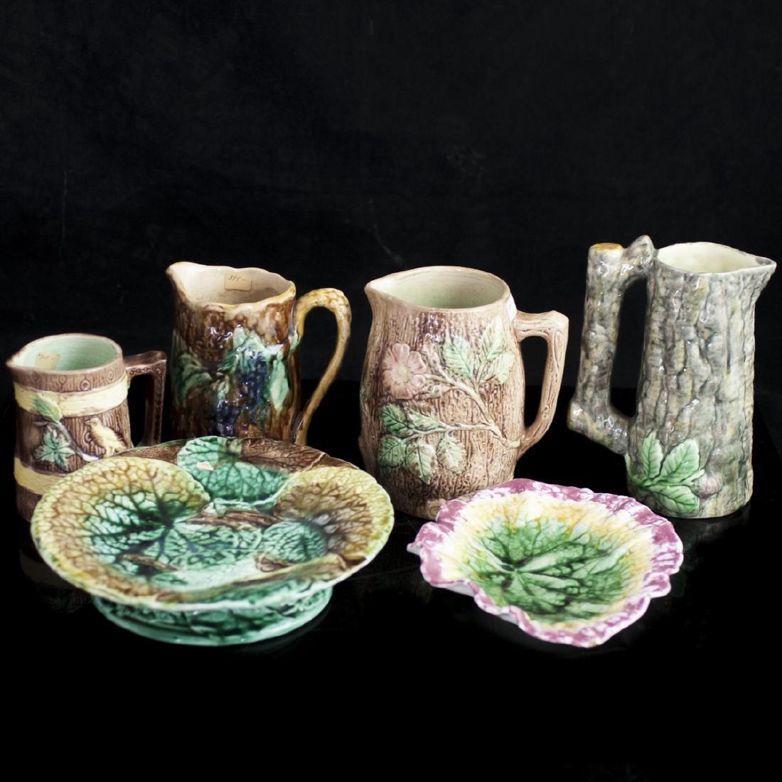 Vintage Majolica Glazed Ceramic Set