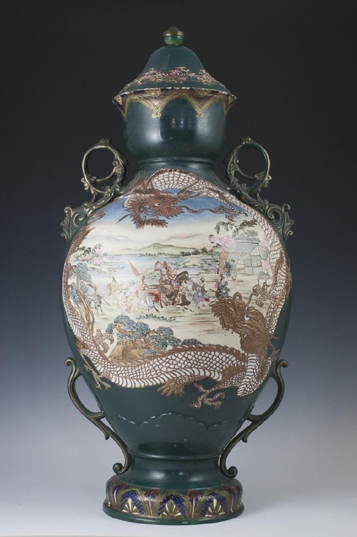 Antique Large Japanese Moriage Enameled Urn