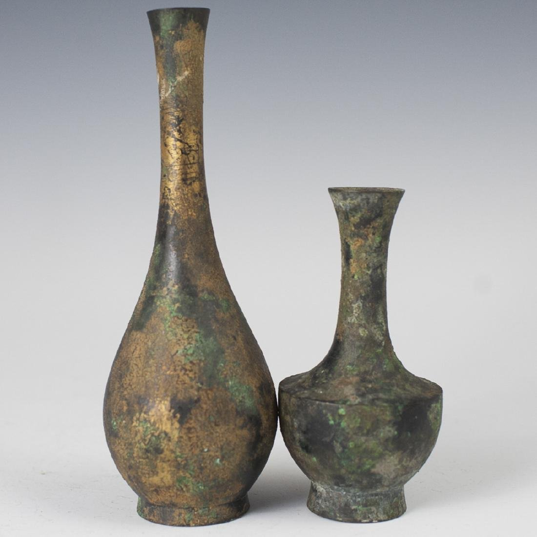 Japanese Patinated Bronze Gilt Vases