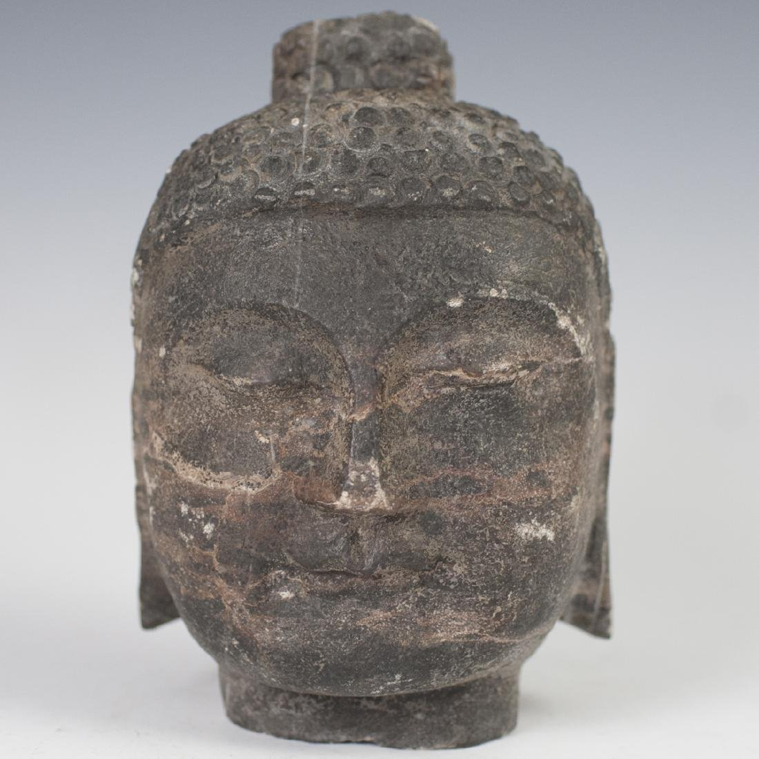 Antique Tibetan Carved Stone Buddha Head